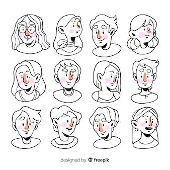Pack avatares de gente dibujados a mano