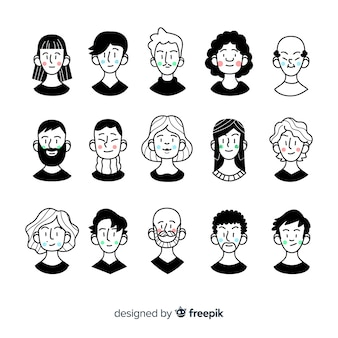 Pack avatares de personas dibujos animados