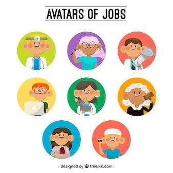 Pack de avatares de trabajadores con estilo divertido