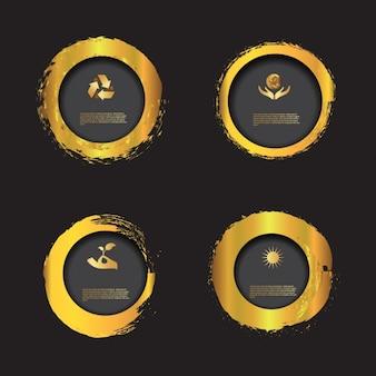 Pack de badges dorados