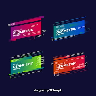 Pack banner formas geométricas degradadas
