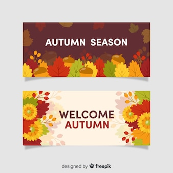 Pack de banner de otoño de diseño plano.