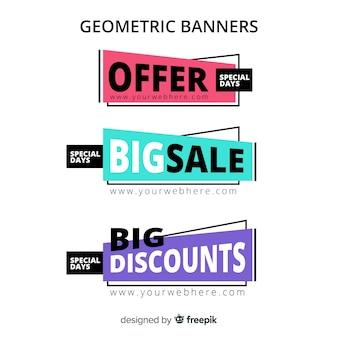 Pack banner de rebajas geométricos
