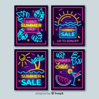 Pack banner verano cartel neón