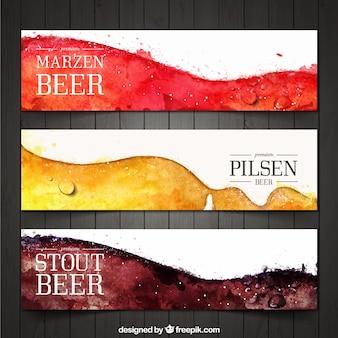 Pack de banners abstractos de cerveza de acuarela