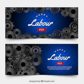 Pack de banners del día del trabajo con diseño realista