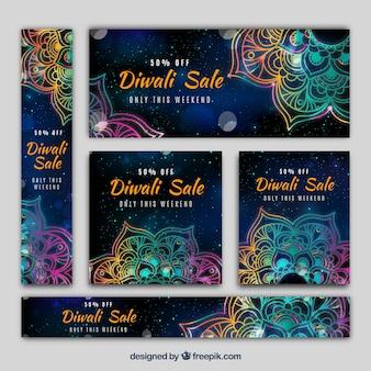 Pack de banners de diwali con mandalas coloridos