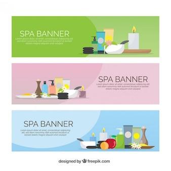 Pack de banners de elementos de spa