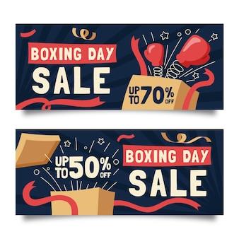 Pack de banners de eventos del día del boxeo.