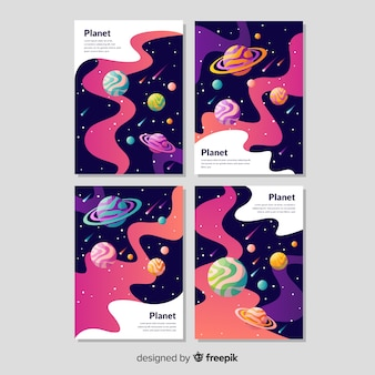 Pack banners galaxia dibujados a mano