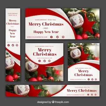 Pack de banners de navidad abstractos