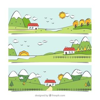 Pack de banners de paisajes dibujados a mano con una casita
