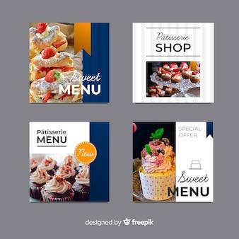 Pack banners planos fotográficos de comida