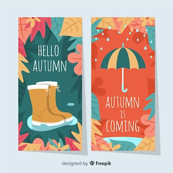 Pack de banners planos de otoño.