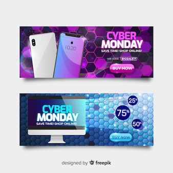 Pack de banners realistas de ciber lunes