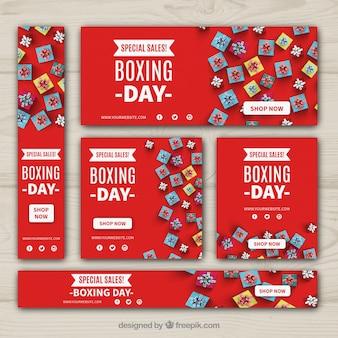 Pack de banners de rebajas de boxing day