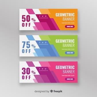 Pack banners de rebajas formas geométricas