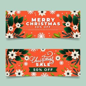 Pack de banners de rebajas de navidad en acuarela