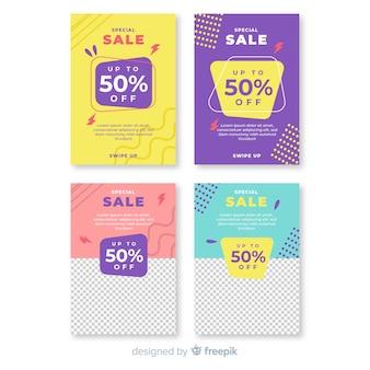 Pack banners de rebajas para redes sociales con foto