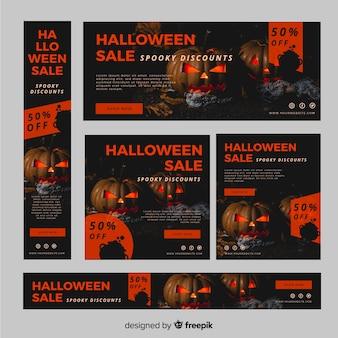 Pack de banners de rebajas web de halloween con foto