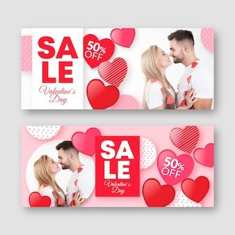 Pack de banners de san valentín con foto