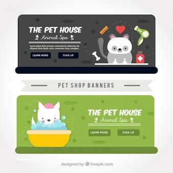 Pack de banners de tienda de animales con animales