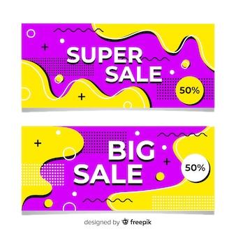 Pack de banners de venta con colores abstractos.