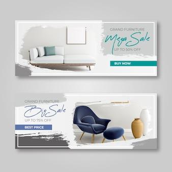 Pack de banners de venta de muebles con imagen. Vector Premium