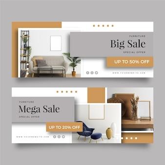Pack de banners de venta de muebles.