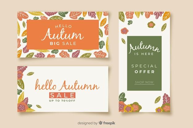 Pack de banners de ventas planas de otoño.