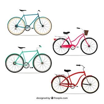 Pack de bicicletas en diseño plano
