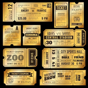 Pack de billetes dorados vintage