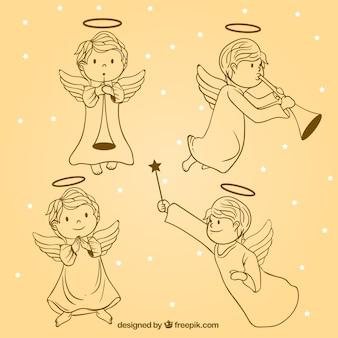 Pack de bocetos de bonitos ángeles navideños