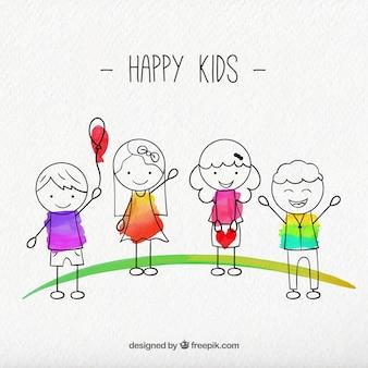 Pack de bocetos de niños felices
