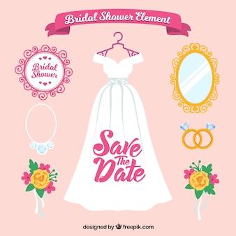 Pack de boda plano de accesorios femeninos