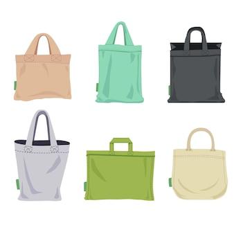 Pack de bolsa de tela de diseño plano