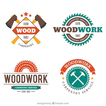 Pack de bonitas insignias de carpintería