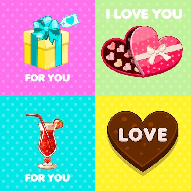 Pack de bonitas tarjetas de felicitación de san valentín