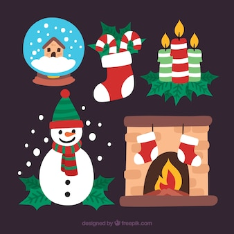 Pack bonito de elementos de navidad