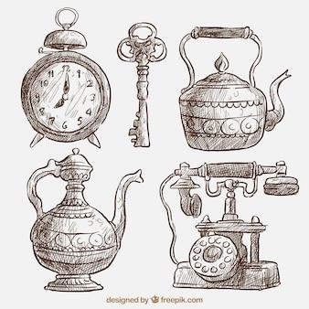Pack de bonitos bocetos de objetos antiguos