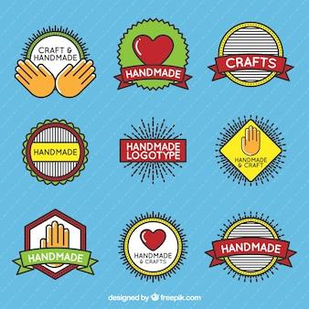 Pack de bonitos logos de manualidades en estilo vintage