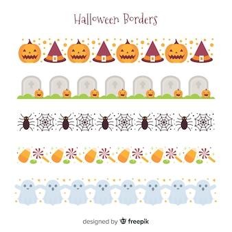 Pack de bordes decorativos de halloween en diseño plano
