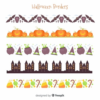 Pack de bordes decorativos de halloween en diseño plano