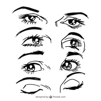 Pack de bosquejos de miradas femeninas