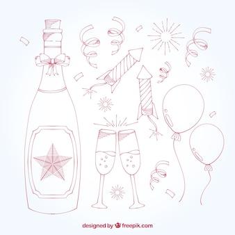 Pack de botella de champagne con elementos de año nuevo