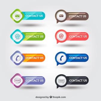 Pack de botones brillantes de contacto