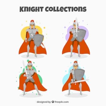 Pack de caballero de capa roja con escudo y espada