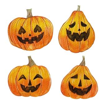 Pack de calabazas de halloween en acuarela