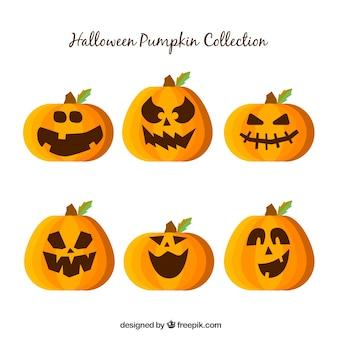 Pack de calabazas de halloween con caras