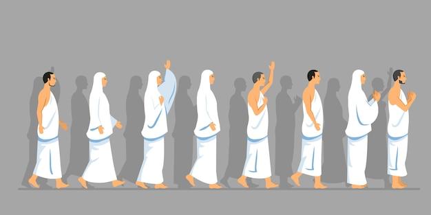 Pack caminata de peregrinación hajj en paralelo
